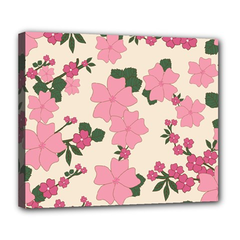Vintage Floral Wallpaper Background In Shades Of Pink Deluxe Canvas 24  x 20