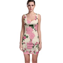 Vintage Floral Wallpaper Background In Shades Of Pink Sleeveless Bodycon Dress