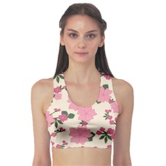 Vintage Floral Wallpaper Background In Shades Of Pink Sports Bra
