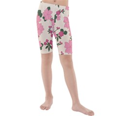 Vintage Floral Wallpaper Background In Shades Of Pink Kids  Mid Length Swim Shorts