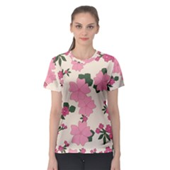 Vintage Floral Wallpaper Background In Shades Of Pink Women s Sport Mesh Tee