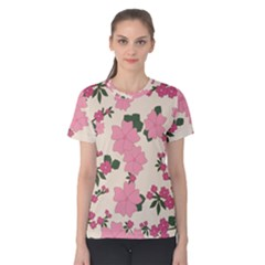 Vintage Floral Wallpaper Background In Shades Of Pink Women s Cotton Tee