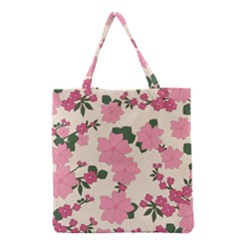 Vintage Floral Wallpaper Background In Shades Of Pink Grocery Tote Bag