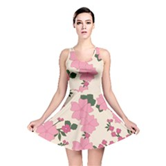 Vintage Floral Wallpaper Background In Shades Of Pink Reversible Skater Dress