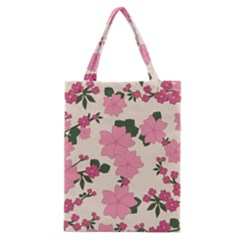 Vintage Floral Wallpaper Background In Shades Of Pink Classic Tote Bag