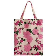 Vintage Floral Wallpaper Background In Shades Of Pink Zipper Classic Tote Bag