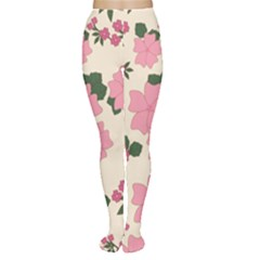 Vintage Floral Wallpaper Background In Shades Of Pink Women s Tights