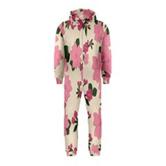Vintage Floral Wallpaper Background In Shades Of Pink Hooded Jumpsuit (kids)