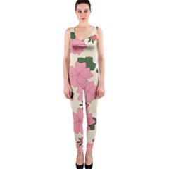 Vintage Floral Wallpaper Background In Shades Of Pink OnePiece Catsuit