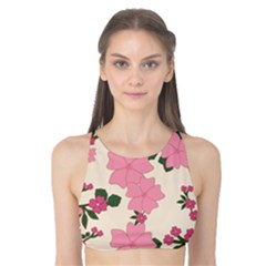 Vintage Floral Wallpaper Background In Shades Of Pink Tank Bikini Top