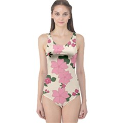 Vintage Floral Wallpaper Background In Shades Of Pink One Piece Swimsuit