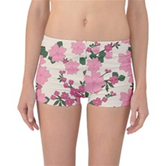 Vintage Floral Wallpaper Background In Shades Of Pink Reversible Bikini Bottoms