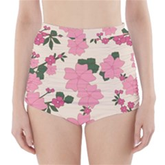 Vintage Floral Wallpaper Background In Shades Of Pink High-Waisted Bikini Bottoms