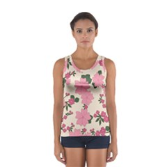 Vintage Floral Wallpaper Background In Shades Of Pink Women s Sport Tank Top