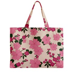Vintage Floral Wallpaper Background In Shades Of Pink Medium Tote Bag