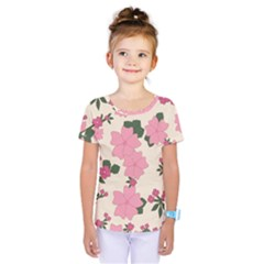 Vintage Floral Wallpaper Background In Shades Of Pink Kids  One Piece Tee
