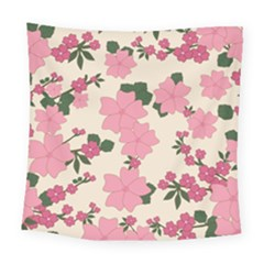 Vintage Floral Wallpaper Background In Shades Of Pink Square Tapestry (large)