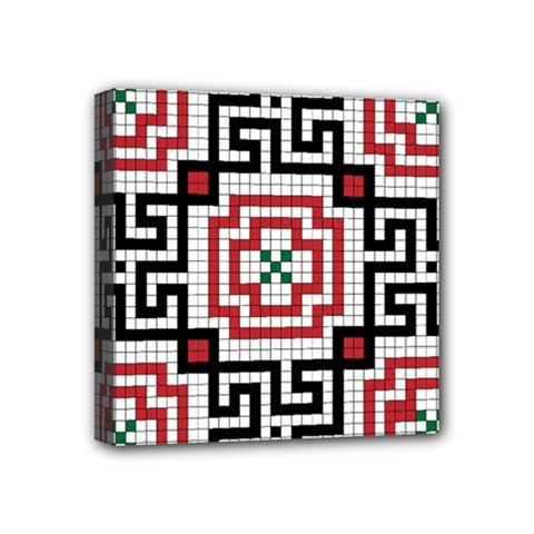 Vintage Style Seamless Black White And Red Tile Pattern Wallpaper Background Mini Canvas 4  X 4
