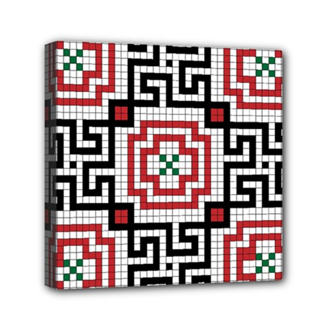 Vintage Style Seamless Black White And Red Tile Pattern Wallpaper Background Mini Canvas 6  X 6