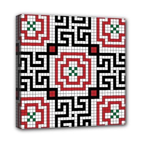 Vintage Style Seamless Black White And Red Tile Pattern Wallpaper Background Mini Canvas 8  x 8