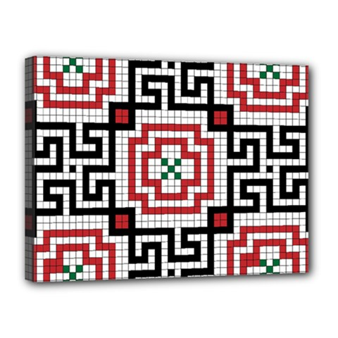 Vintage Style Seamless Black White And Red Tile Pattern Wallpaper Background Canvas 16  X 12