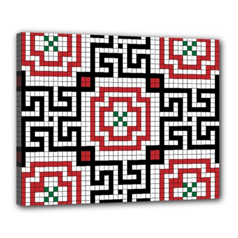 Vintage Style Seamless Black White And Red Tile Pattern Wallpaper Background Canvas 20  X 16