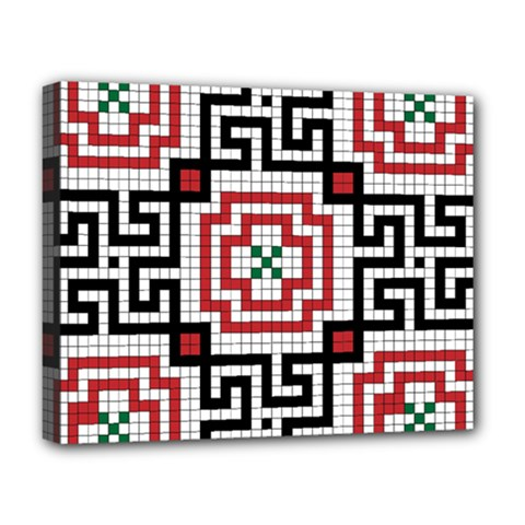 Vintage Style Seamless Black White And Red Tile Pattern Wallpaper Background Deluxe Canvas 20  x 16