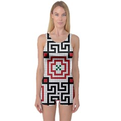 Vintage Style Seamless Black White And Red Tile Pattern Wallpaper Background One Piece Boyleg Swimsuit