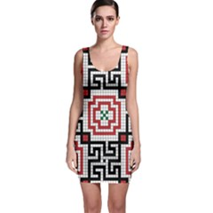 Vintage Style Seamless Black White And Red Tile Pattern Wallpaper Background Sleeveless Bodycon Dress