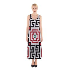 Vintage Style Seamless Black White And Red Tile Pattern Wallpaper Background Sleeveless Maxi Dress