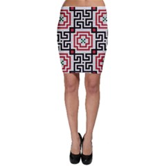 Vintage Style Seamless Black White And Red Tile Pattern Wallpaper Background Bodycon Skirt