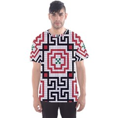 Vintage Style Seamless Black White And Red Tile Pattern Wallpaper Background Men s Sport Mesh Tee
