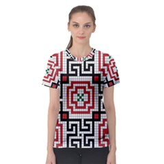 Vintage Style Seamless Black White And Red Tile Pattern Wallpaper Background Women s Sport Mesh Tee