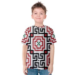 Vintage Style Seamless Black White And Red Tile Pattern Wallpaper Background Kids  Cotton Tee