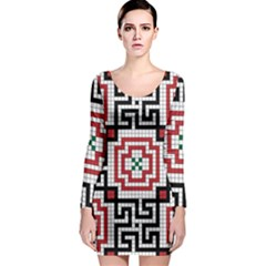 Vintage Style Seamless Black White And Red Tile Pattern Wallpaper Background Long Sleeve Bodycon Dress