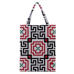 Vintage Style Seamless Black White And Red Tile Pattern Wallpaper Background Classic Tote Bag