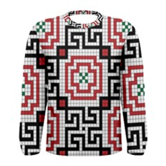 Vintage Style Seamless Black White And Red Tile Pattern Wallpaper Background Men s Long Sleeve Tee