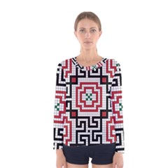 Vintage Style Seamless Black White And Red Tile Pattern Wallpaper Background Women s Long Sleeve Tee