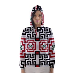 Vintage Style Seamless Black White And Red Tile Pattern Wallpaper Background Hooded Wind Breaker (Women)