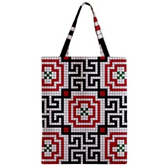 Vintage Style Seamless Black White And Red Tile Pattern Wallpaper Background Zipper Classic Tote Bag