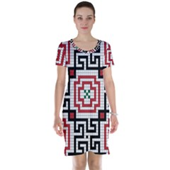 Vintage Style Seamless Black White And Red Tile Pattern Wallpaper Background Short Sleeve Nightdress