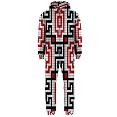 Vintage Style Seamless Black White And Red Tile Pattern Wallpaper Background Hooded Jumpsuit (Men)