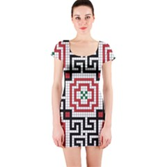 Vintage Style Seamless Black White And Red Tile Pattern Wallpaper Background Short Sleeve Bodycon Dress