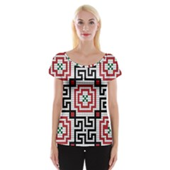 Vintage Style Seamless Black White And Red Tile Pattern Wallpaper Background Women s Cap Sleeve Top