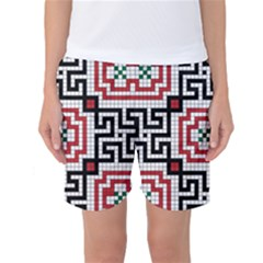 Vintage Style Seamless Black White And Red Tile Pattern Wallpaper Background Women s Basketball Shorts