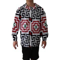 Vintage Style Seamless Black White And Red Tile Pattern Wallpaper Background Hooded Wind Breaker (Kids)