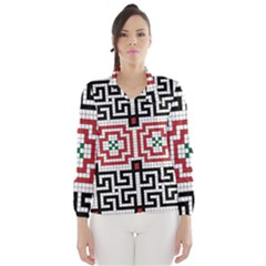 Vintage Style Seamless Black White And Red Tile Pattern Wallpaper Background Wind Breaker (Women)