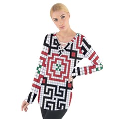 Vintage Style Seamless Black White And Red Tile Pattern Wallpaper Background Women s Tie Up Tee