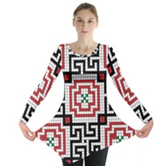 Vintage Style Seamless Black White And Red Tile Pattern Wallpaper Background Long Sleeve Tunic