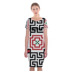 Vintage Style Seamless Black White And Red Tile Pattern Wallpaper Background Classic Short Sleeve Midi Dress